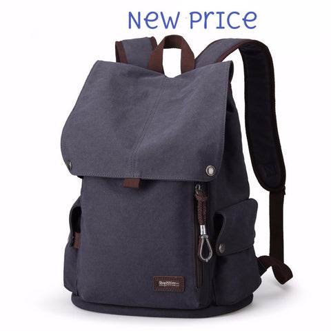 Canvas Backpack High Quality Travel Bags Laptop Style 15.6 inch Backpack blue/black