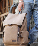 Canvas Backpack High Quality Travel Bags Laptop Style 15.6 inch Backpack light coffee
