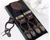 Mens Leather Clip Suspenders Vintage Style
