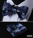 100% Silk Jacquard Bow Tie and Pocket Square Set blue