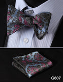 100% Silk Jacquard Bow Tie and Pocket Square Set paisley