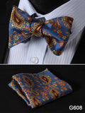 100% Silk Jacquard Bow Tie and Pocket Square Set blue/red