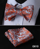 100% Silk Jacquard Bow Tie and Pocket Square Set red/blue