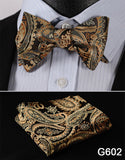 100% Silk Jacquard Bow Tie and Pocket Square Set gold/green