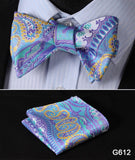 100% Silk Jacquard Bow Tie and Pocket Square Set blue/purple