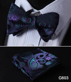 100% Silk Jacquard Bow Tie and Pocket Square Set blue paisley