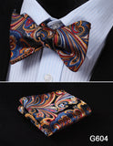 100% Silk Jacquard Bow Tie and Pocket Square Set swirl colors