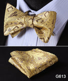 100% Silk Jacquard Bow Tie and Pocket Square Set gold
