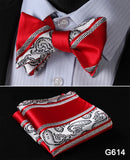 100% Silk Jacquard Bow Tie and Pocket Square Set red/white