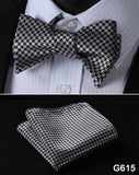 100% Silk Jacquard Bow Tie and Pocket Square Set gray