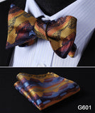 100% Silk Jacquard Bow Tie and Pocket Square Set gold/blue