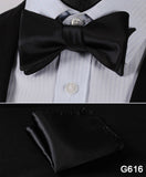 100% Silk Jacquard Bow Tie and Pocket Square Set black