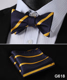 100% Silk Jacquard Bow Tie and Pocket Square Set blue/gold