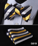 100% Silk Jacquard Bow Tie and Pocket Square Set black/white