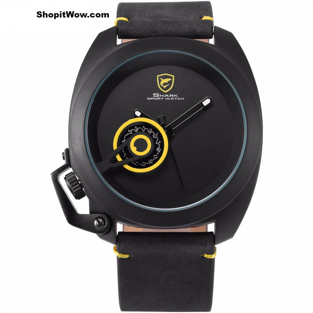 Precision Luxury Sport Timepiece, Yellow Date Display, Superior Crown-guard Watches and Top Grain Leather Strap from ShopitWow.com