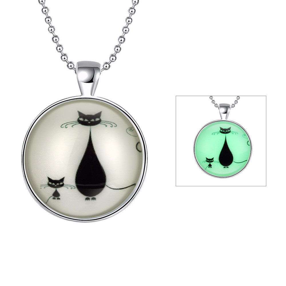 Cat Necklace | Silver Pendant | Glows In The Dark