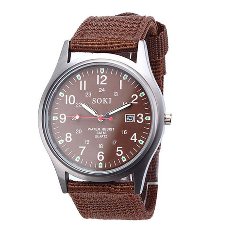Mens Casual Sport Watch | Quartz Analog Hour and Date brown strap