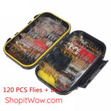 Hand tied flies plus water-proof box