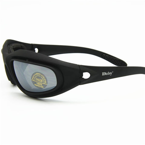 Ultimate Eyewear For Bikers, Sports, or Hunting Goggle Style Sunglasses With 4 Lens. From ShopitWow.com