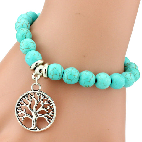 Turquoise Bead Bracelet with tree charm