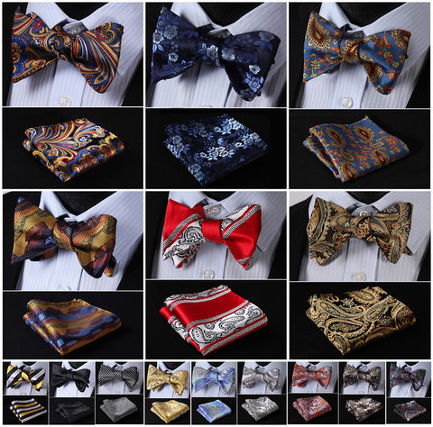 Bow Tie Plus Pocket Square. Paisley Floral Jacquard Woven Houndstooth 100% Silk