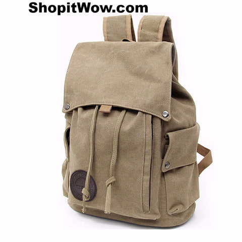Cool Casual Drawstring Backpack Bags Canvas Material