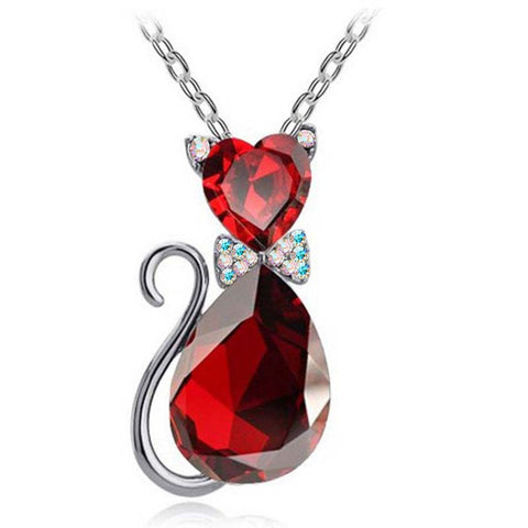 Austrian Crystal Red Kitten Necklace and Silver Chain