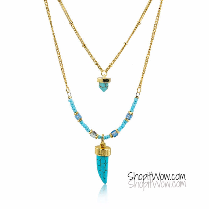 Bohemian Gold Turquoise Necklaces for Women Long Natural Stone and Beads - ShopitWow Store