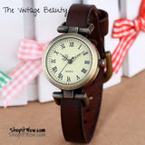 "Womens Genuine Leather Watch ""vintage style dress watch"" - ShopitWow Store"