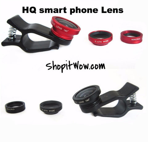 High Quality Fisheye / Wide-Angle Lens fits all smart phones Universal 3 in1 - ShopitWow Store
