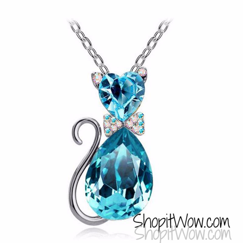 Austrian Crystal OceanBlue Kitten Necklace and Silver Chain