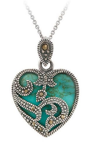 Marcasite Silver Plated Necklace, Blue and Black Turquoise Heart Pendant Necklace - ShopitWow Store