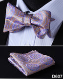 100% Silk Paisley Floral Jacquard Bow Tie and Pocket Square set