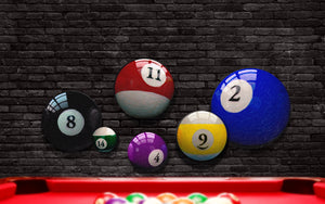 Round Billiard Ball Art Prints Behind Pool Table