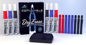 Refillable dry erase marker starter kit with refill ink for Whiteboards