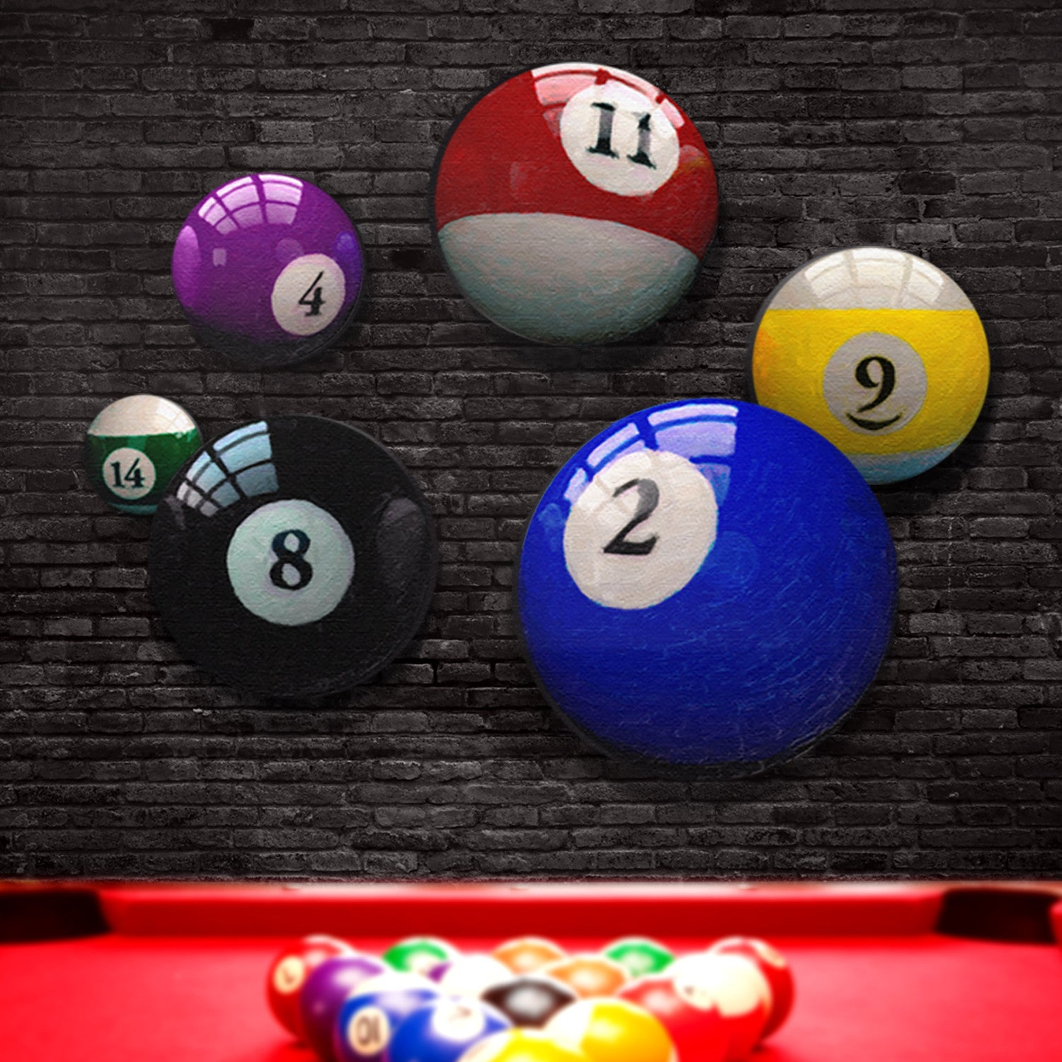 Pool ball prints on individual round art canvases for man cave pool ball prints behind billiards table in rec room decor amipublicfo Images