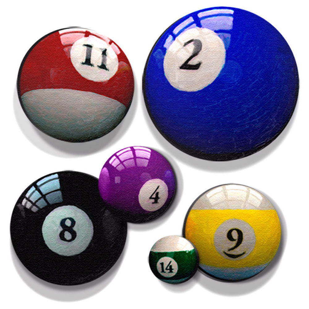 Pool ball prints on individual round art canvases for man cave man cave bar sign office art home bar billiard room decor amipublicfo Images