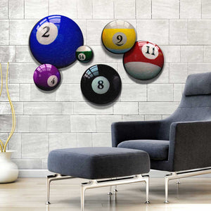 Round Billiard Room Decor Pool Ball Canvas Art Prints - Man Cave Bar Sign - Home Staging Ideas - Unique Interior Design Art - Gift for Him - Wall Art Canvas Prints