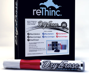 Red black and blue whiteboard dry erase markers with refill ink tanks