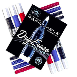 Refillable Dry Erase Markers Starter Set - Red Blue Black Pens and Refill Ink - 15 Pieces