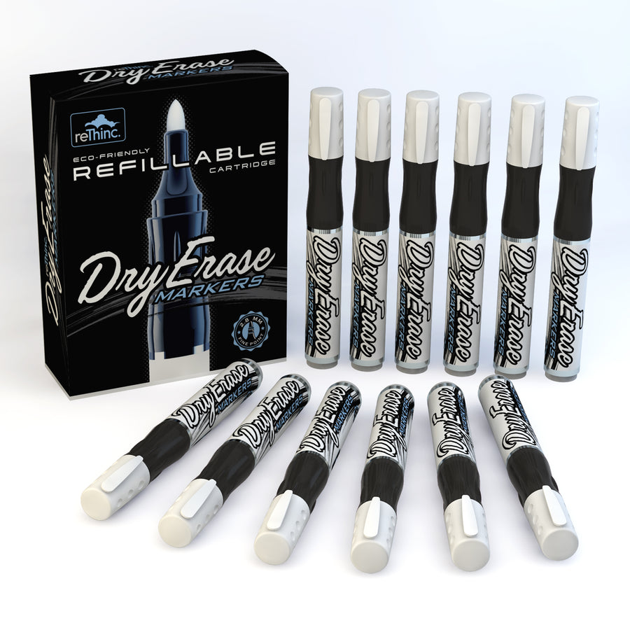 Black Refillable Dry Erase Markers - Box of 12