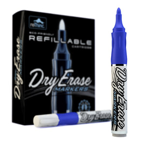 Blue Refillable Dry Erase Markers - Box of 12