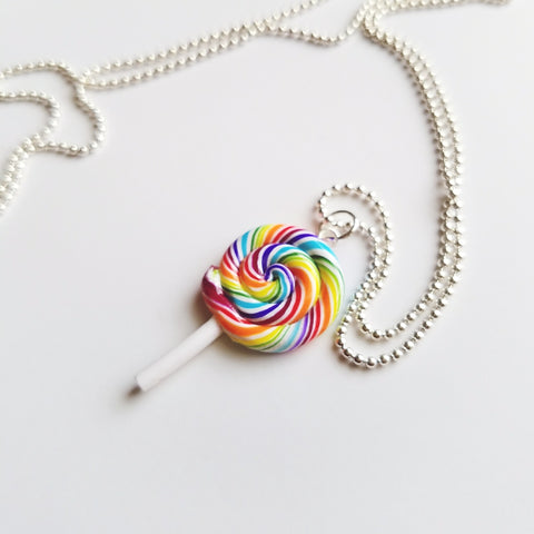 Scented Tutti Frutti Scented Rainbow Lollipop Necklace (wholesale)