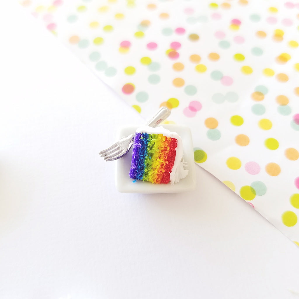 1:12 Scale Dollhouse Miniature Rainbow Cake Slice Set
