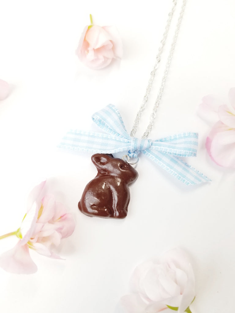 Scented Chocolate Easter Bunny Necklace Silver Plated