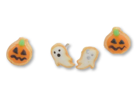 Scented Halloween Pumpkin & Ghost Sugar Cookie Earring Set