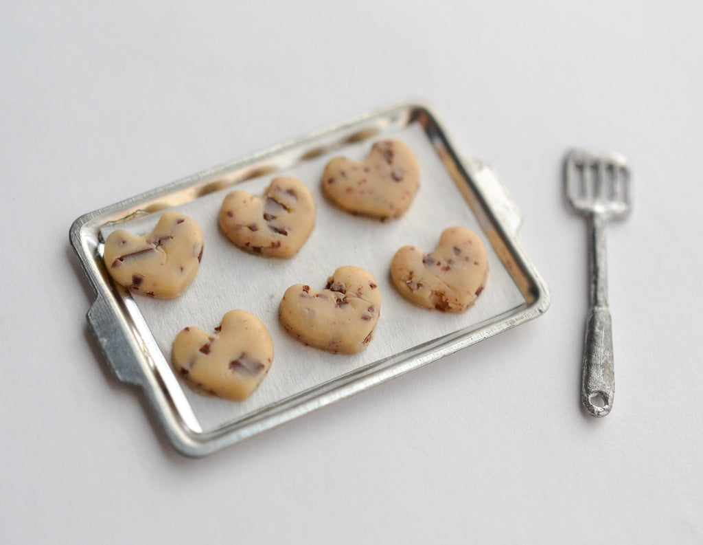 Scented 1:12 Scale Dollhouse Miniature Chocolate Chip Cookie Valentine's Day Baking Tray