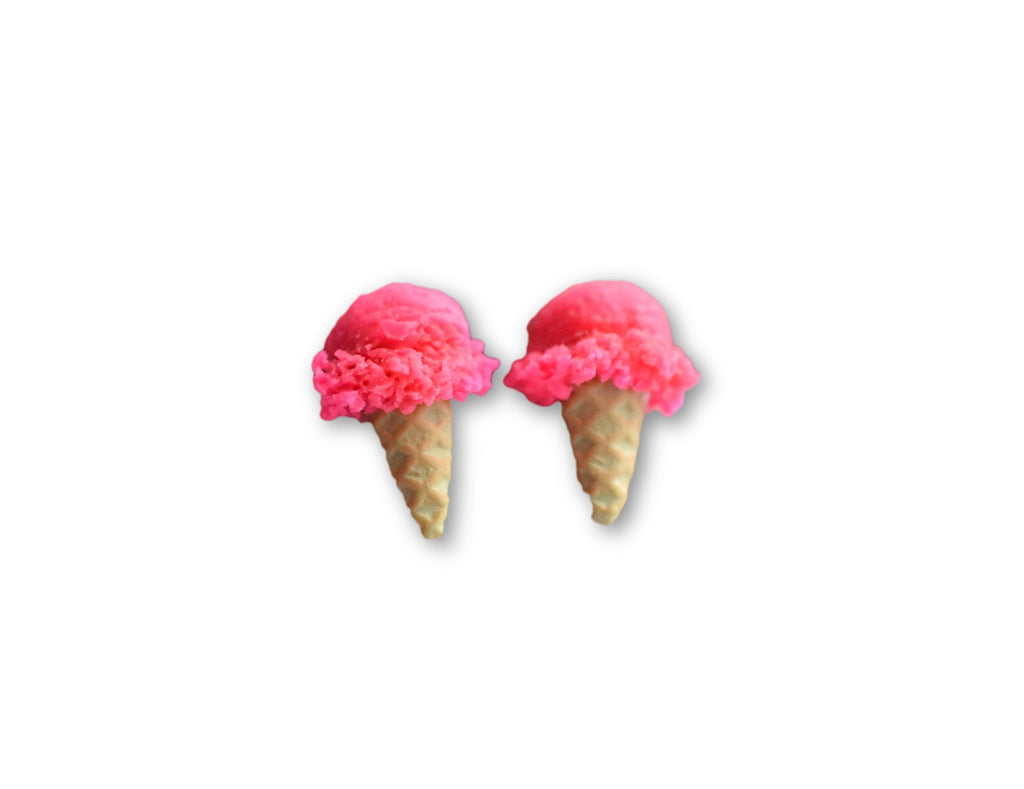 Scented Strawberry Ice Cream Cone Earrings