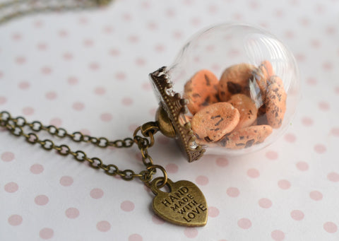 Chocolate Chip Cookie Jar Necklace-Antique Bronze