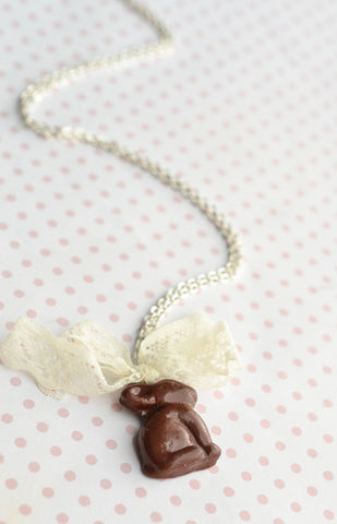 Scented Chocolate Easter Bunny Necklace- Food Jewelry- Silver Plated
